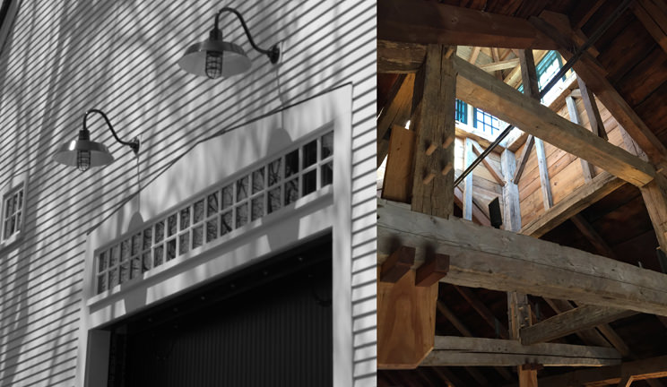 Views of the barn's exterior and looking up into the cupola.