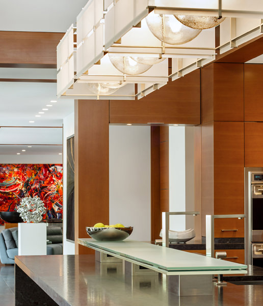 A detail shot, showing the play of light, materials, and design. Kitchen design by KR+H's Karla Monkevich and Paul Reidt.