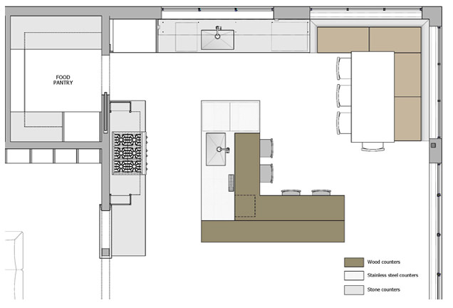 KR+H's floor plan of the kitchen
