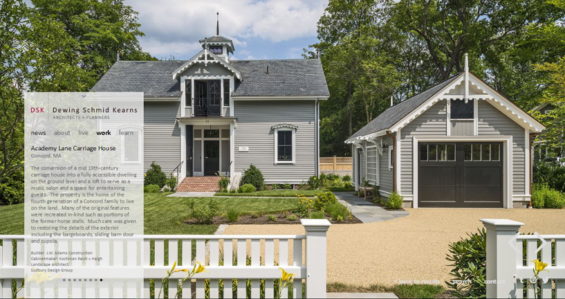 The renovated 19th century carriage house is a rare example of Carpenter Gothic. It's located just outside of Concord's town center.  (image from  DSK's website )