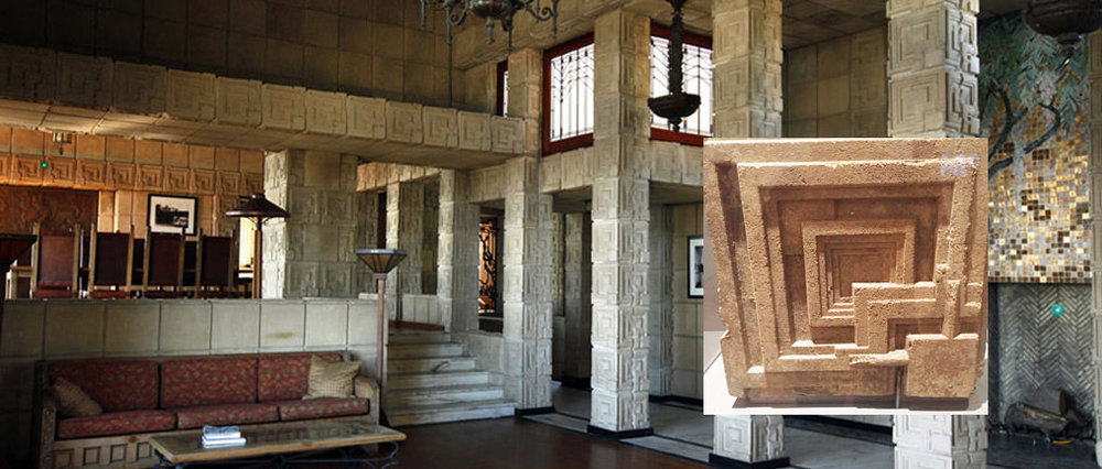 Paul's photo of a textile concrete block is inset here in an image of the Ennis house. The patterned block forms the exterior and interior. The residence was designed by FLW for Charles and Mable Ennis in 1923, and it was built in 1924 in the Los Feliz neighborhood of Los Angeles.