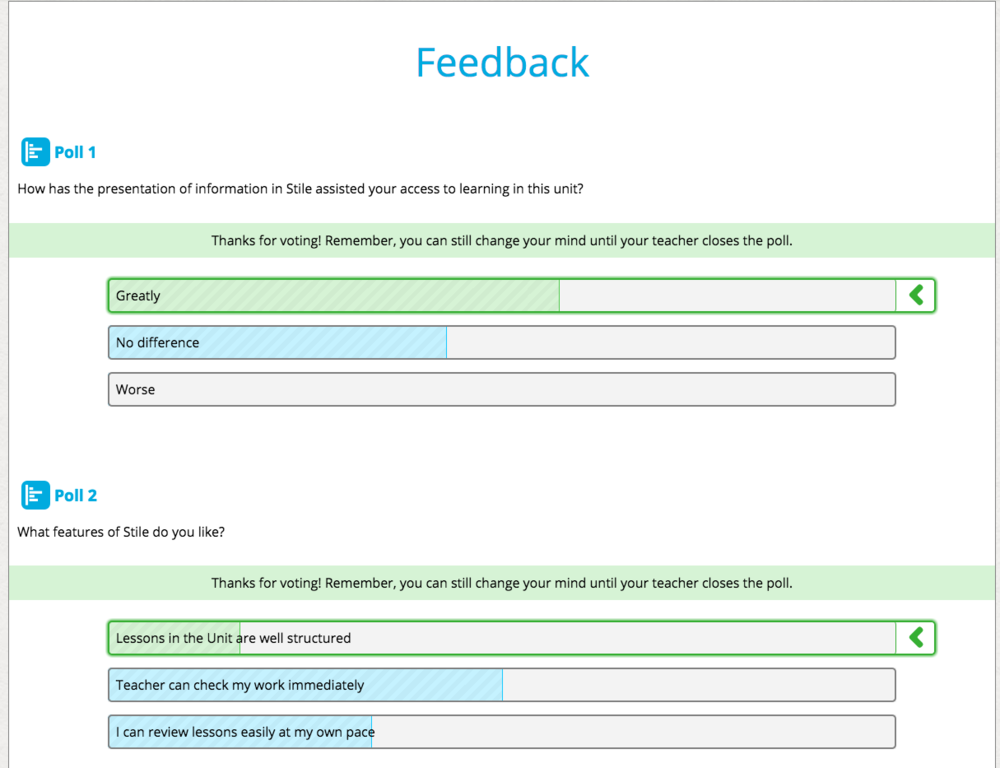 a sample screenshot of One stilish teacher'S  end-of-unit Survey