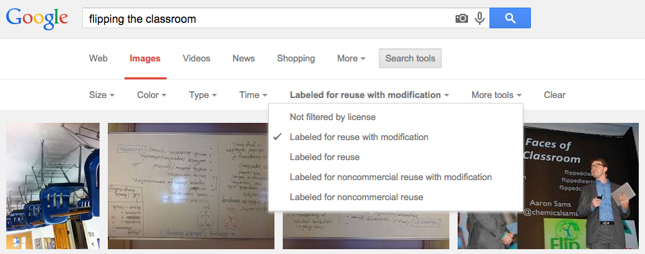 Google images' search tools can be filtered by licence — attribution is still required though!