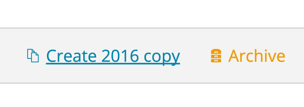 The new 'create 2016 copy'  and 'archive' buttons that appear when you hover over a subject