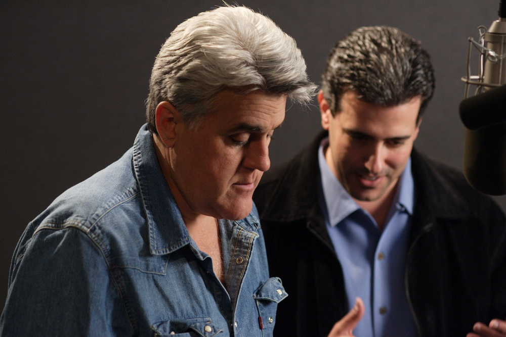 Robert Zappia directing Jay Leno during his read as Narrator for the film.