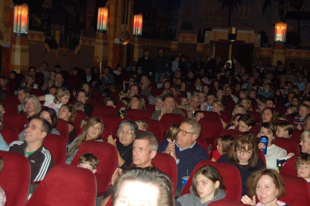 The audience waits patiently to see Christmas is Here Again at the world premier at the Crest Theatre in Los Angeles