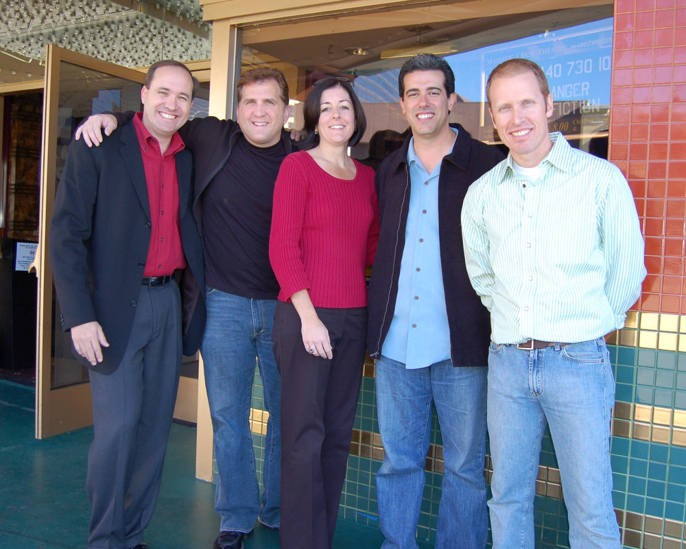 Darrell Van Citters, Daniel Roebuck, Ashley Postlewaite, Robert Zappia and Jim Praytor pictured outside the Crest Theatre.