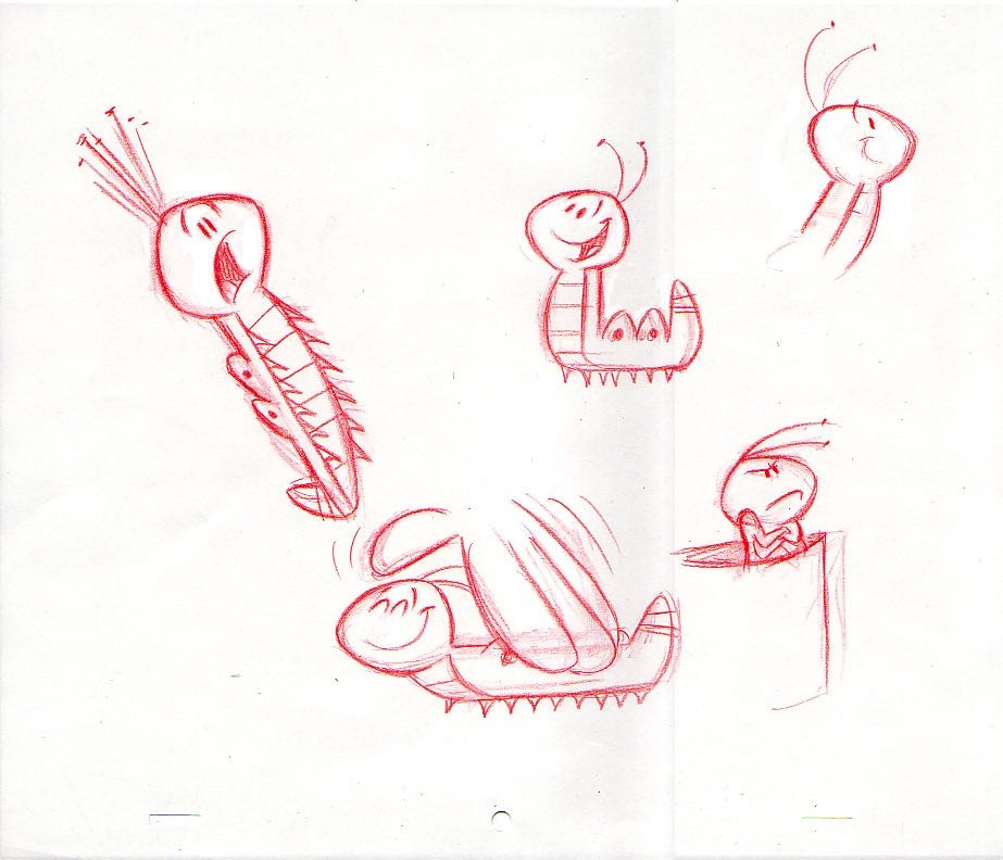 Early sketch poses of Mr. Caterpillar