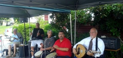 The Jason Naroian Ensemble performs traditional music at the Armenian Food And Music Festival at the American Legion Farm in Haverhill, Mass. on Aug. 24. Ensemble members include Jason Naroian, Mal Barsamian, Paul Mooradian, Joe Kouyoumjian, Leon Janikian, John Arzigian and Michael Naroian.