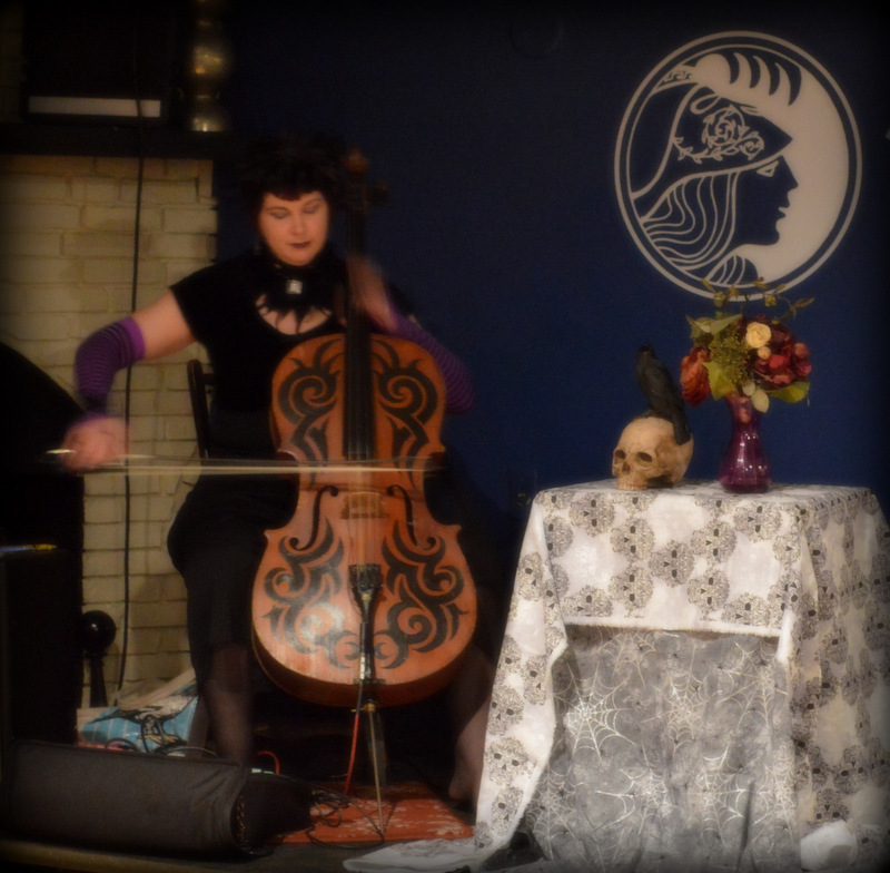 "Wisteriax (Karen Langlie), cellist, in ""Improvisation in the Key of Poe"""
