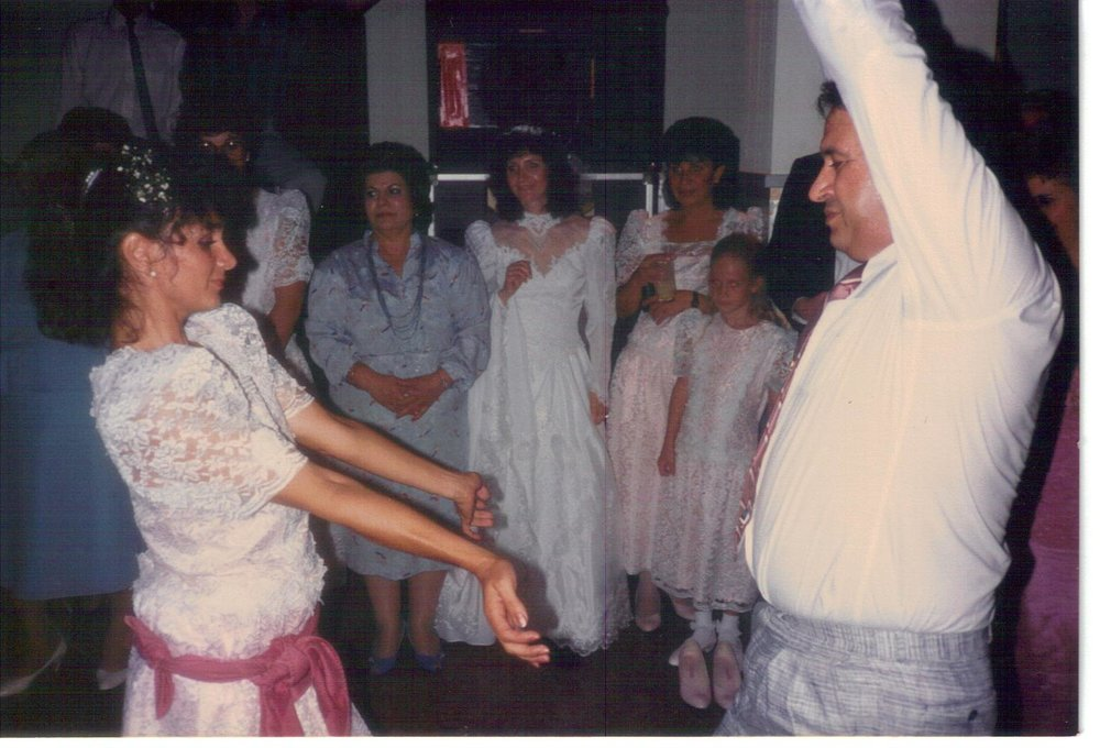 Tarifa (left) and Bobby Farrah (right) dance at a family wedding. Photo courtesy of Tarifa Salem.