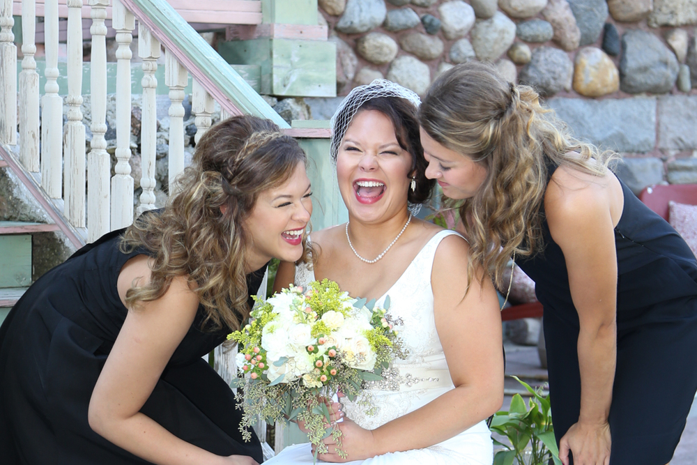 wedding bride laughing wedding day at brechet inn bed and breakfast in glencoe minnesota