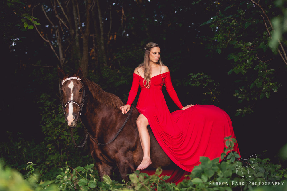 Red dress and horse