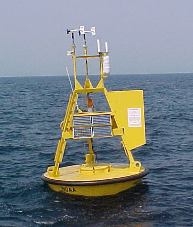 Buoy 46005, located at 45.958 N  131.000 W, near Brown Bear Seamount, 300 nautical miles west of Aberdeen, WA. Parameters from this buoy are used to determine the pitch of one oscillator (avg. wave period), the length of one reverb (wave direction), and the rate of sine oscillator modulating a continuously variable delay time (wind direction).