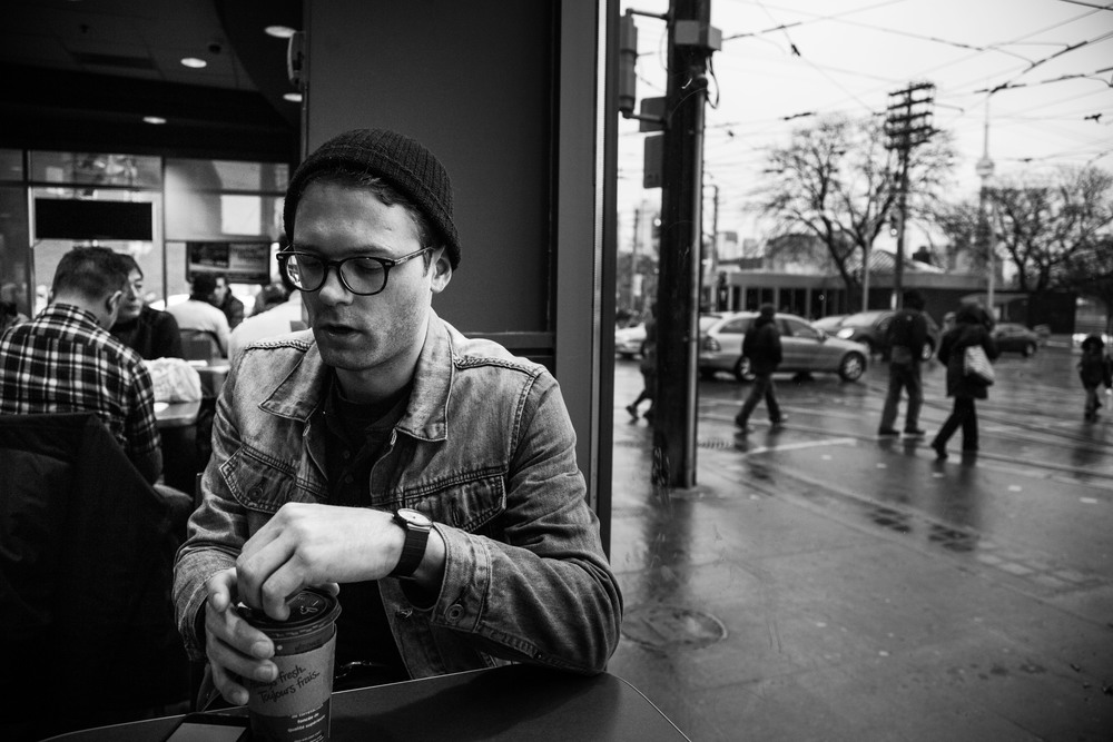 Loren Shumaker sits in a Tim Hortons down the street from the venue in Toronto, Ontario, Wednesday April 6, 2016. Long time fan and photographer Rafael Santos also joined us for a coffee.