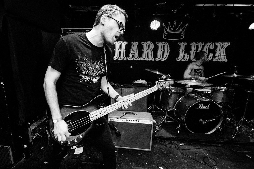 Bassist, Loren Shumaker and drummer, Steve Gibson during the set  at the Hard Luck Bar   in Toronto, Ontario,   Wednesday April 6, 2016.