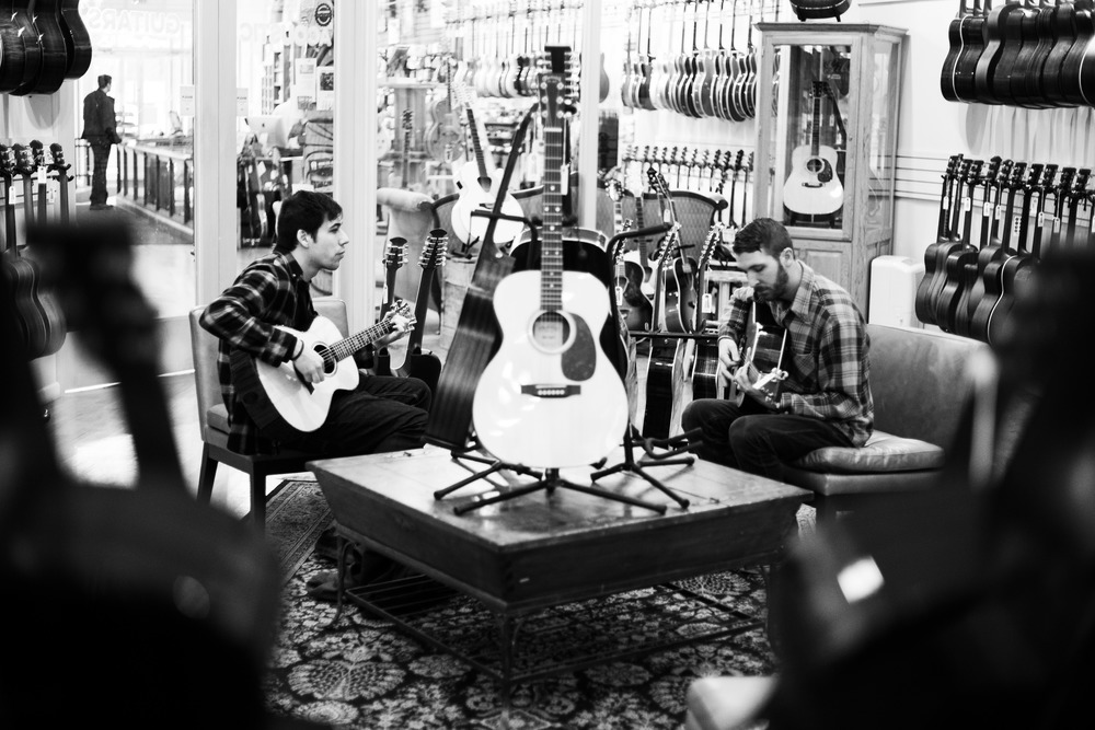Max and Steve at Chicago Music Exchange  in Chicago, Illi  nois, Monday, April 11, 2016.