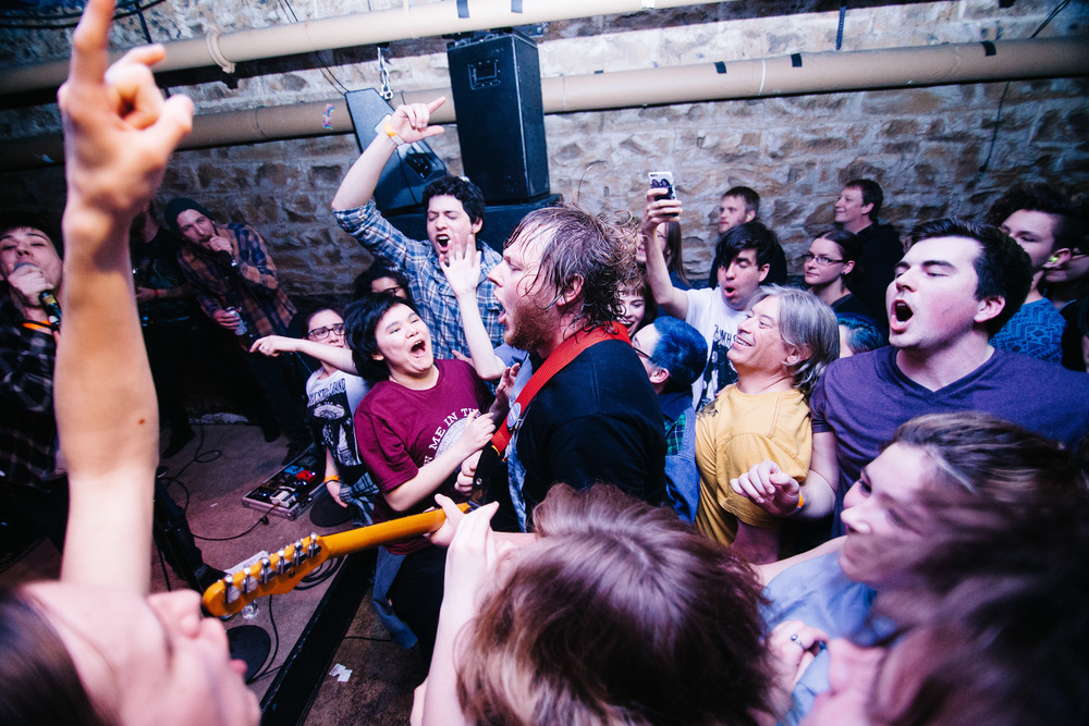 Wil Wagner Jumps in the crowd  at The Nether Bar     in Minneapolis, Minnesota, Monday, April 11, 2016.