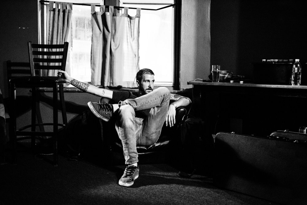 Steve enjoying a sit and a beer in the green room.