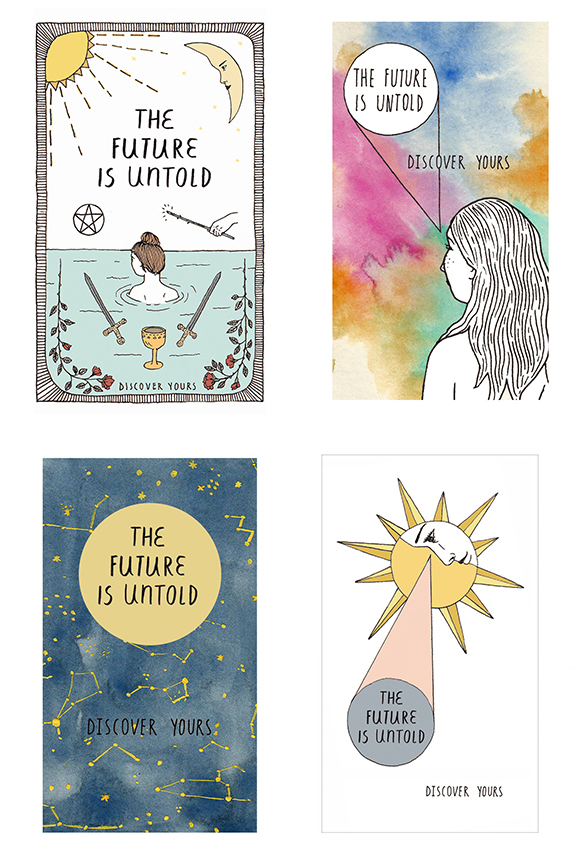 Four business card designs for Tarot Reader, 2015