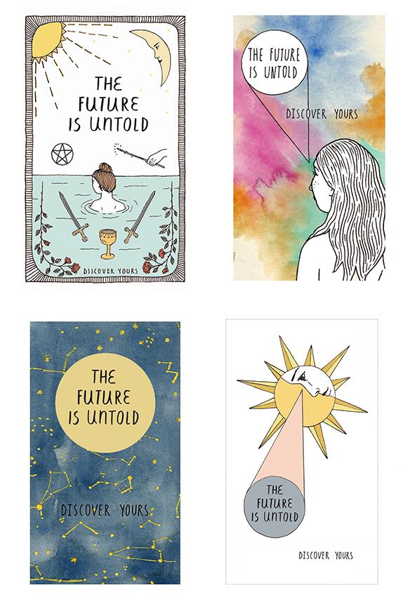 Four business card designs for Tarot Reader, 2015