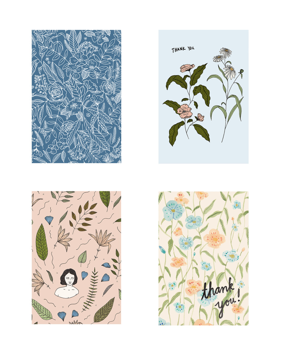 Set of Floral Postcards, 2016