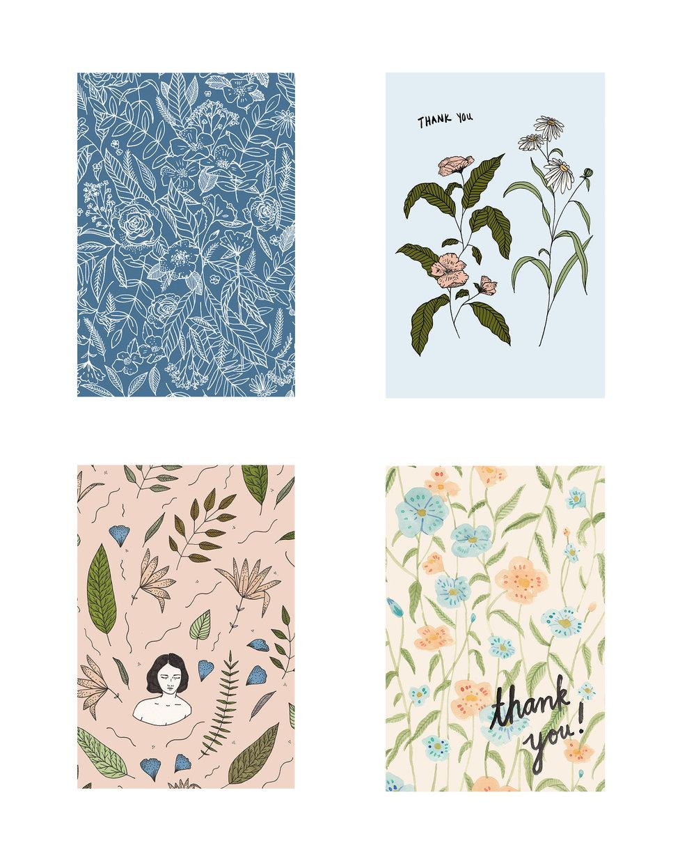 Set of Floral Postcards, 2016