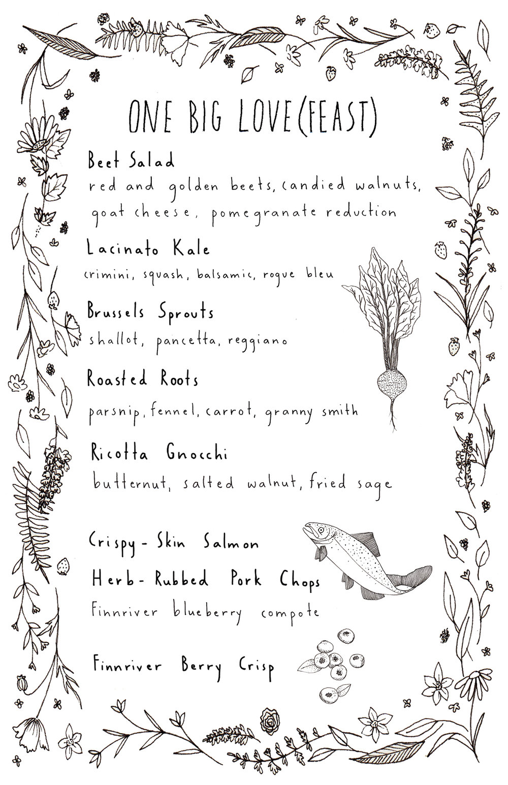 Menu design for wedding, 2014