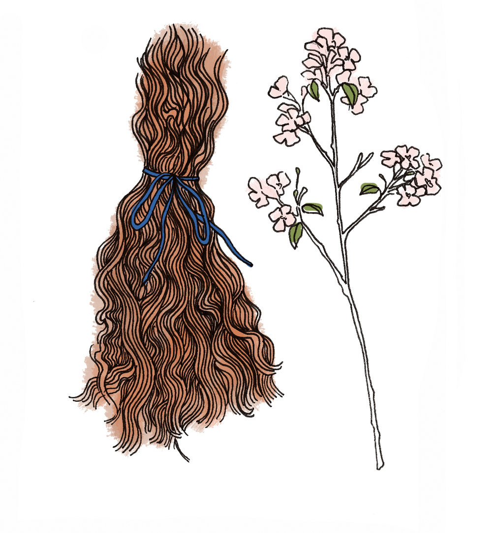 Lock of Hair and Cherry Blossoms, 2017  Made for  Your Full Real Name  by Joni Renee