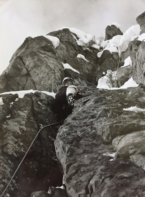 Winter technical climbing, experimenting With crampons on the rock.