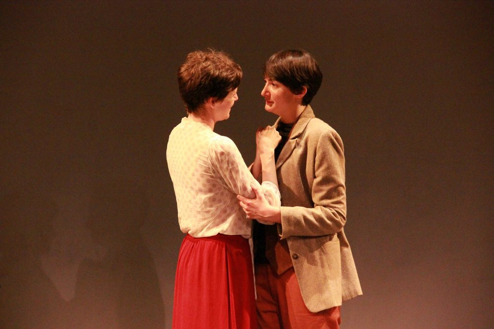 Leigh Hendrix as Nelle and Megan Hanley as Gertrude Stein inWell Job, Gertrudeat Dixon Place in July 2014