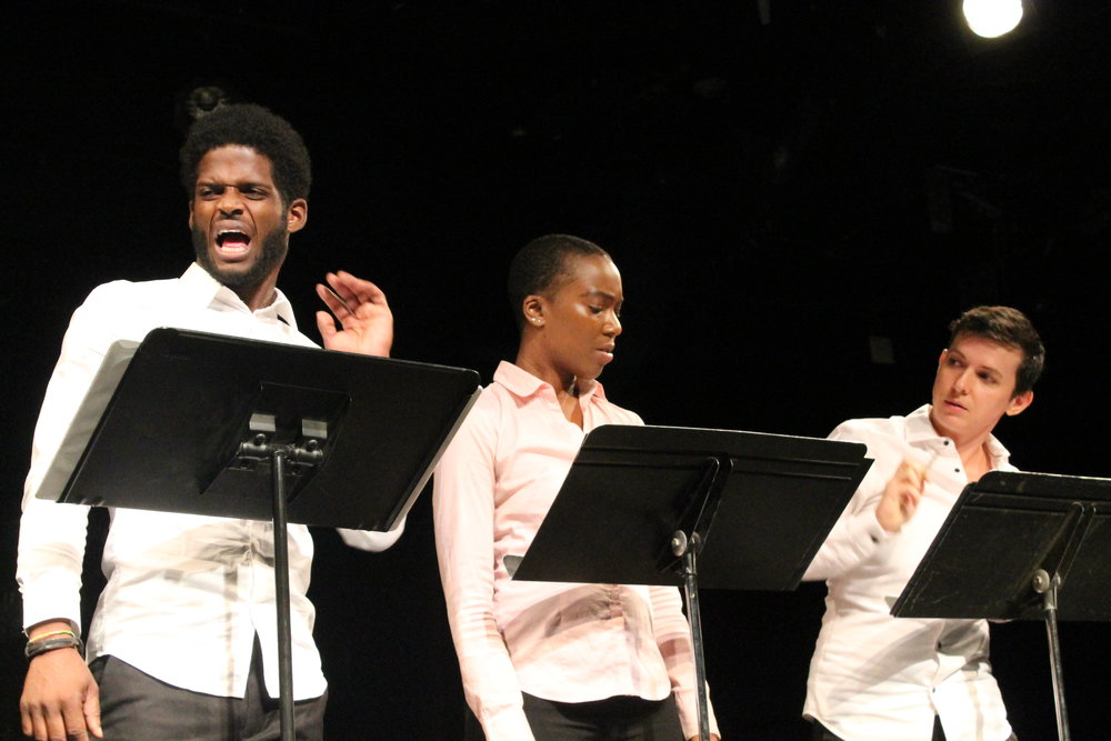 Jak Watson, AnJu Hippolyte, and Jax Jackson in  The Beasts of Warren  by Azure D. Osborne-Lee. Photo by Janouke Goosen