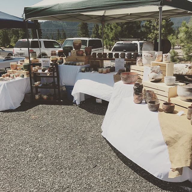 Set up at the Iron Horse beer and Wine Festival in Mount Shasta! It is looking to be a gorgeous day! #jarpottery #pottery #art #ceramics #artfair
