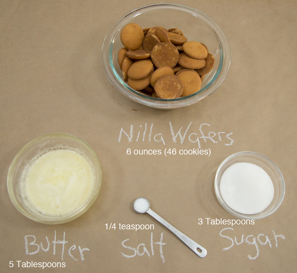 Ingredients for the pie crust. The Nilla Wafers can be swapped out for 6oz of any cookie or graham cracker.