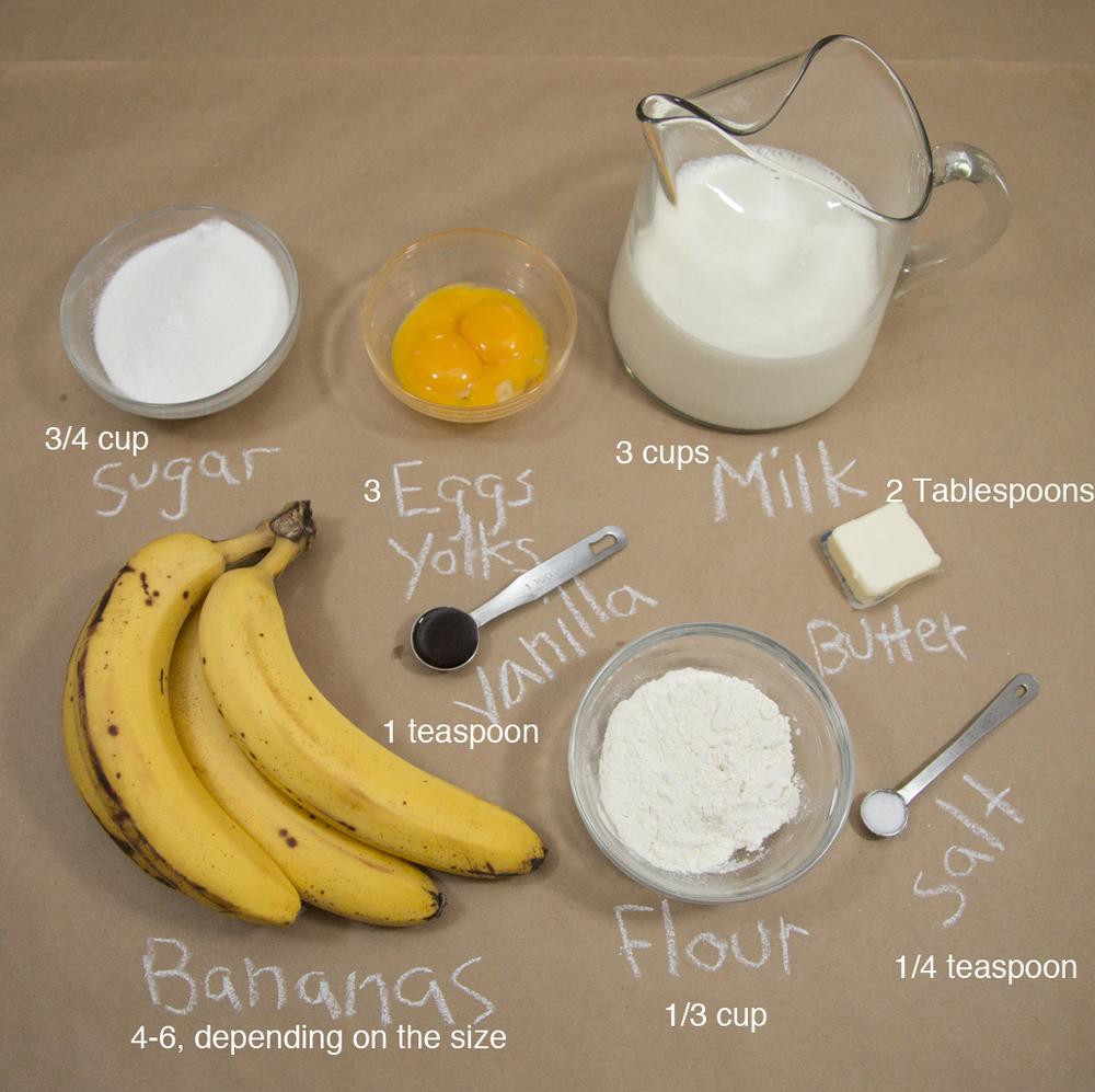 Ingredients for Banana Cream Pie