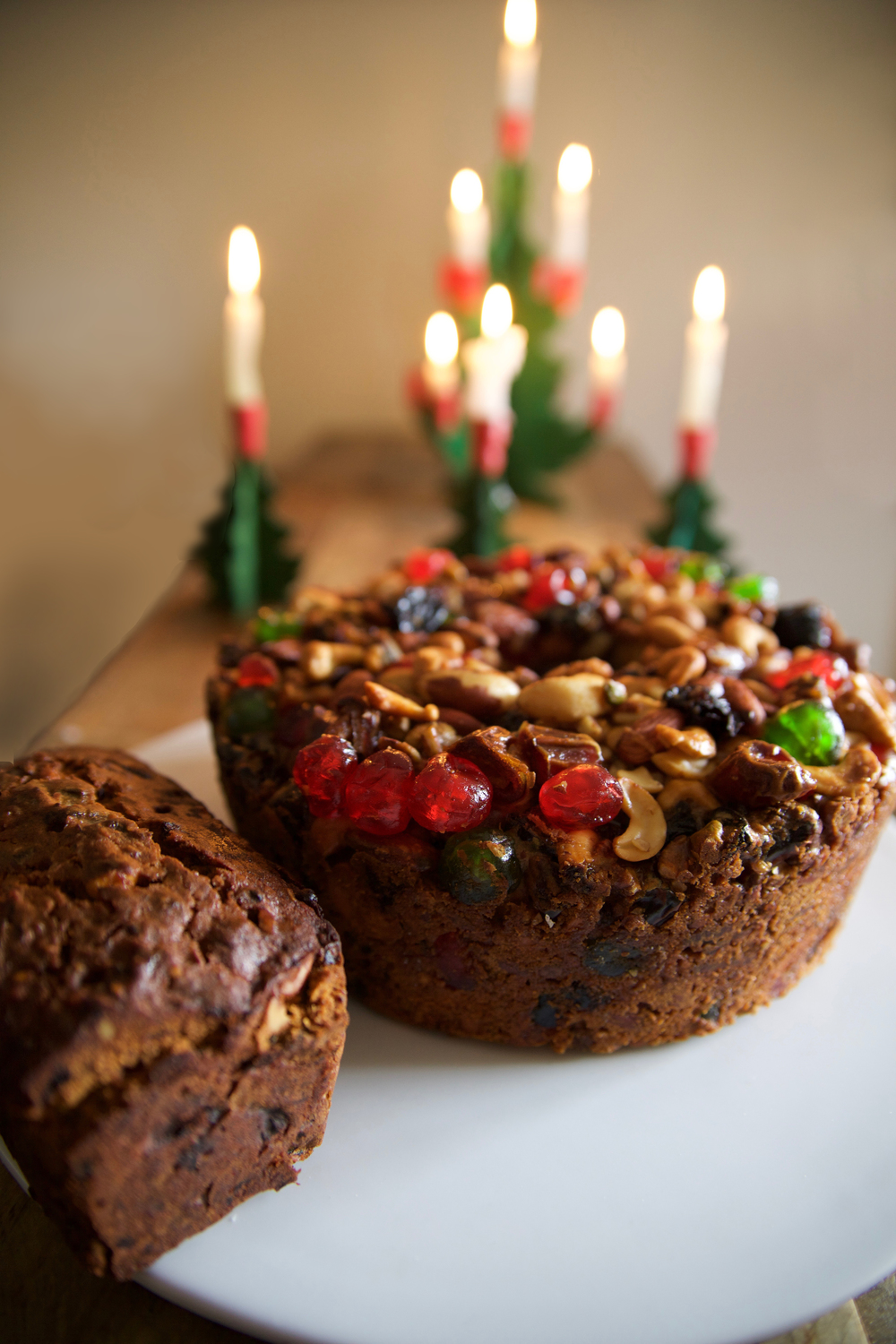 Left: Nigel Slater's Christmas Cake. Right: Good Housekeeping (?) Fruitcake