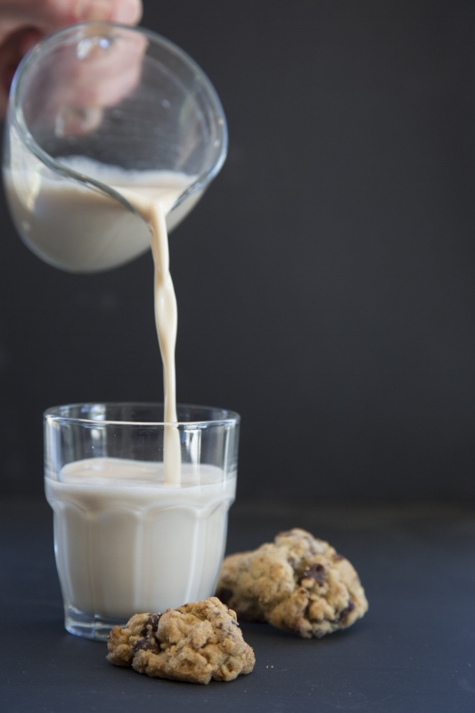 A nice cold glass of almond milk pairs perfectly with chocolate chip cookies.