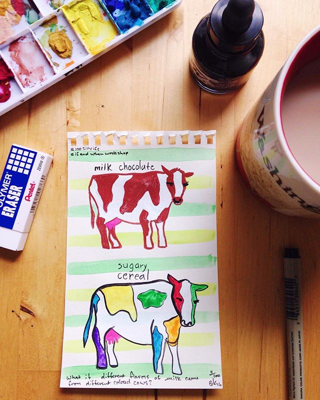 What if different flavors of milk came from different colored cows? #100sillyifs I'm trying to remind myself that it's the repetition of this that counts, not the beauty of the 🐄... Because those are some goofy looking beasts! #the100dayproject #ifandwhenworkshop #sketchbook #30minutesorless #moo #milk #whatamess! #itsbeenaroughday