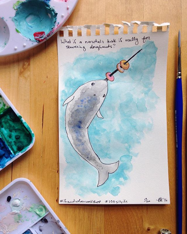 What if a narwhal's tusk is really for skewering doughnuts!? 🍩 Yum! #100sillyifs #the100dayproject #ifandwhenworkshop #sketchbook #30minutesorless #narwhal #doughnuts #cute