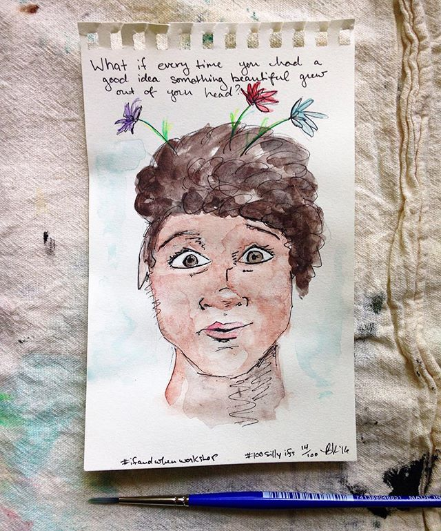 What if every time you had a good idea something beautiful literally grew right out of your head!? 🌱🌷🌼🌹#100sillyifs I usually try to avoid drawing people... But some days cute faces magically will themselves onto my page, and this was one of those times!  #the100dayproject #ifandwhenworkshop #sketchbook #30minutesorless