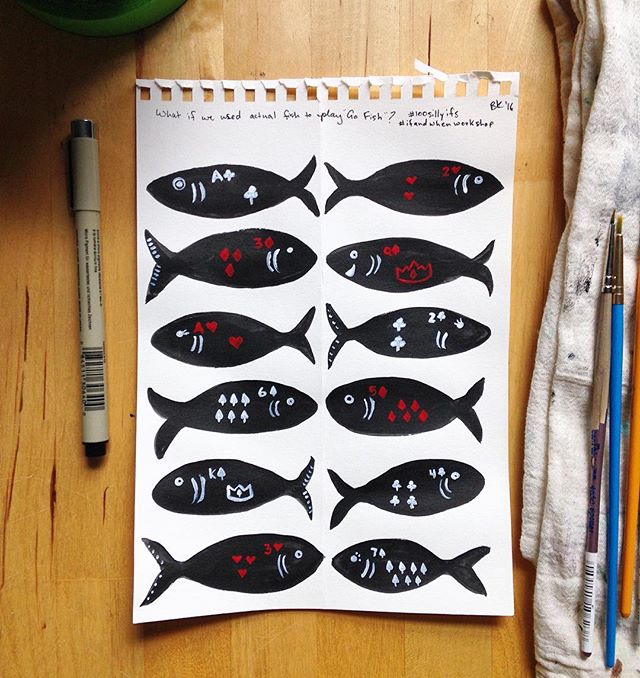What if we used actual fish to play 'Go Fish?' 🐟♠️🐟♦️ #100sillyifs #the100dayproject #ifandwhenworkshop #sketchbook #30minutesorless #fish #cards #silly #gouache #blackink #illustration #gofish