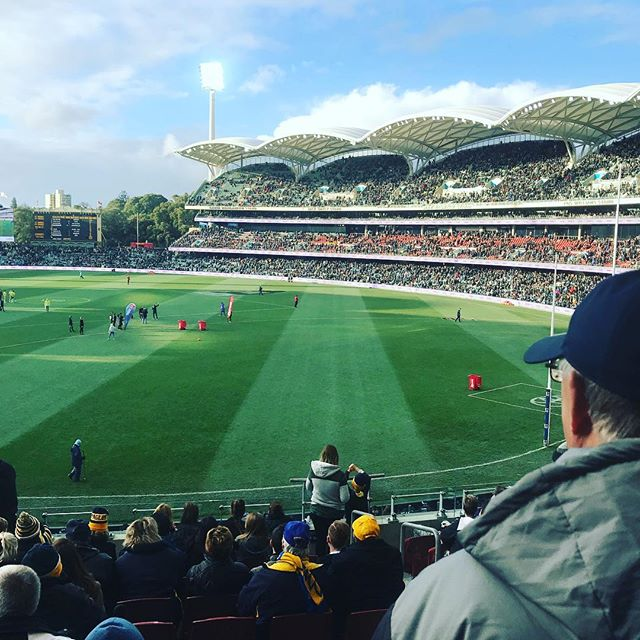 Lining up for the Port versus West Coast AFL football game in Adelaide