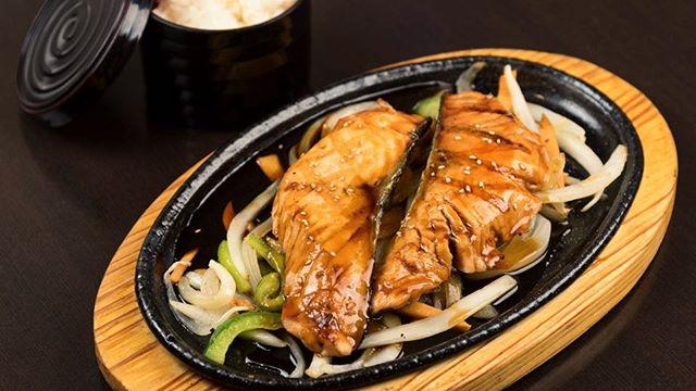 Salmon teriyaki dinner - served with rice, miso soup, and salad