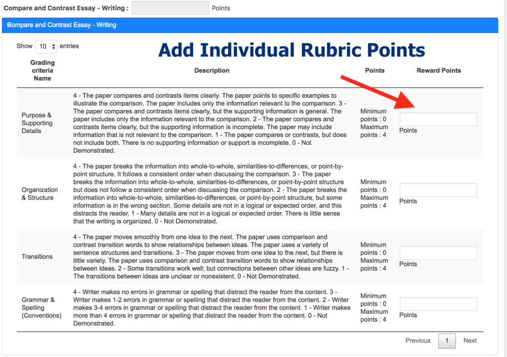 You can now add points to Individual parts of a rubric you use to grade an assignment.  Rubric based scoring with LearnDash LMS
