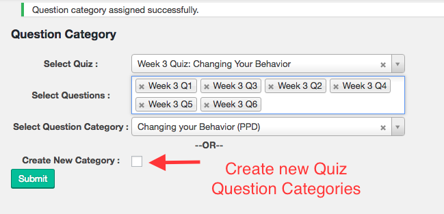 Quickly Create Quiz Question Categories