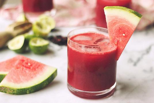 Watermelon-Hibiscus-Lime Margaritas (Cosmopolitan)