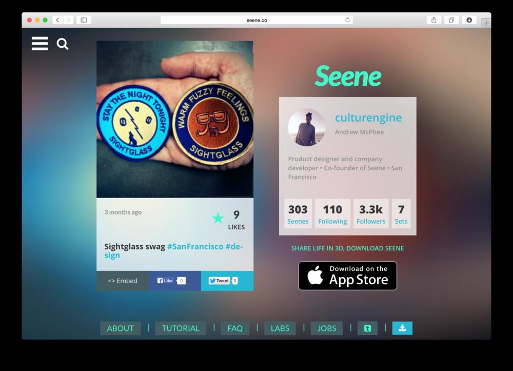 Seene WebGL Responsive Design desktop