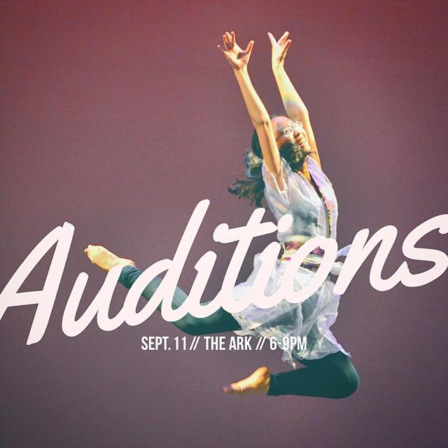 Save the date! Our auditions will be on Sept. 11 from 6-9pm in the Ark. We'll see you there