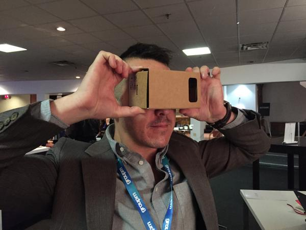 Tom Kelshaw, our Director of Technology, brings the Google Cardboard we assembled to an Advertising Technology event in New York City.