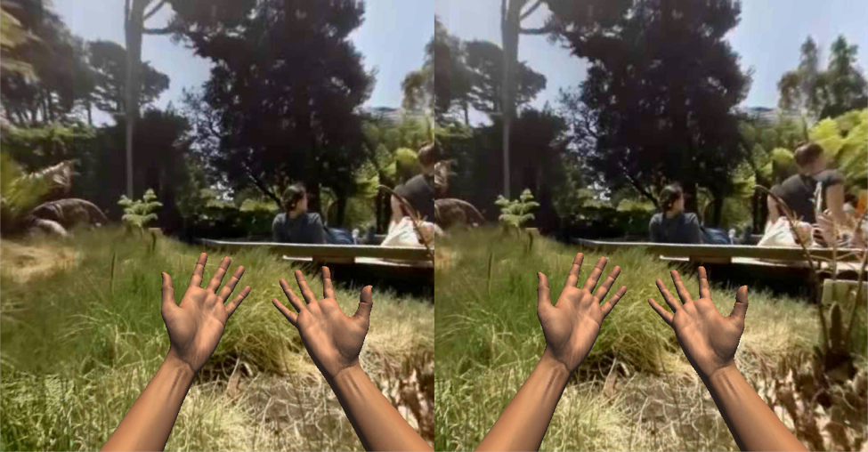 Oh look! I can see my hands in the virtual world and even pick up virtual objects!